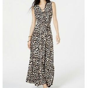 INC Petite Leopard Print Faux Wrap Dress